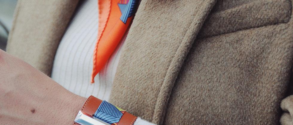 Manchette Lingot noire & ruban Libre, orange