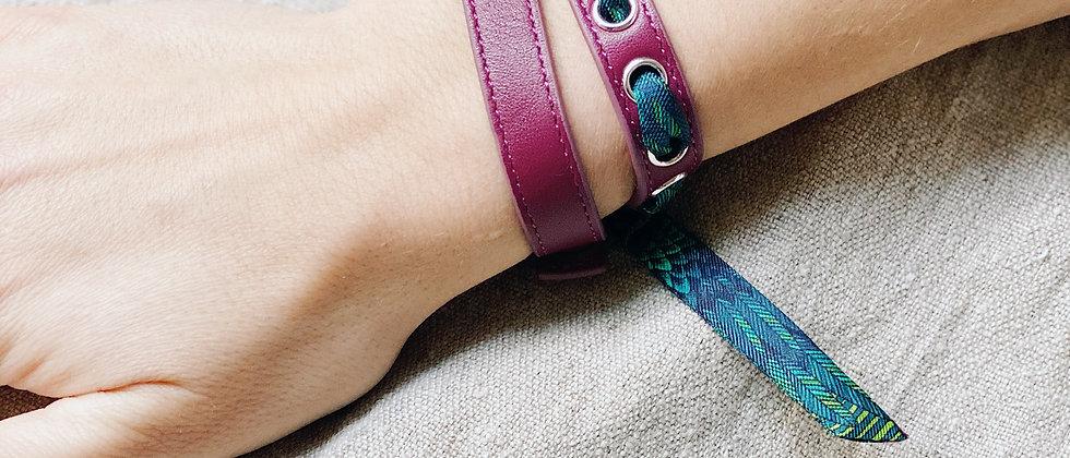 Bracelet double tour cerise Cycle, ruban L'Aigle Turquoise