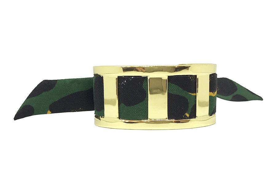 Manchette JMA de 3 cm - Bracelet Léopard, Vert foncé