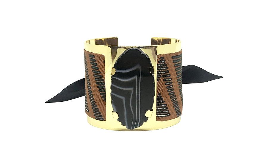 Grande manchette MERCURE, agate Noire - Tapis Volant -Carotte