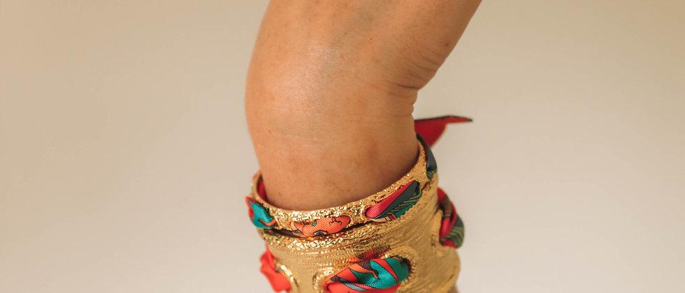 Bracelet Queen et ruban Soleil, corail