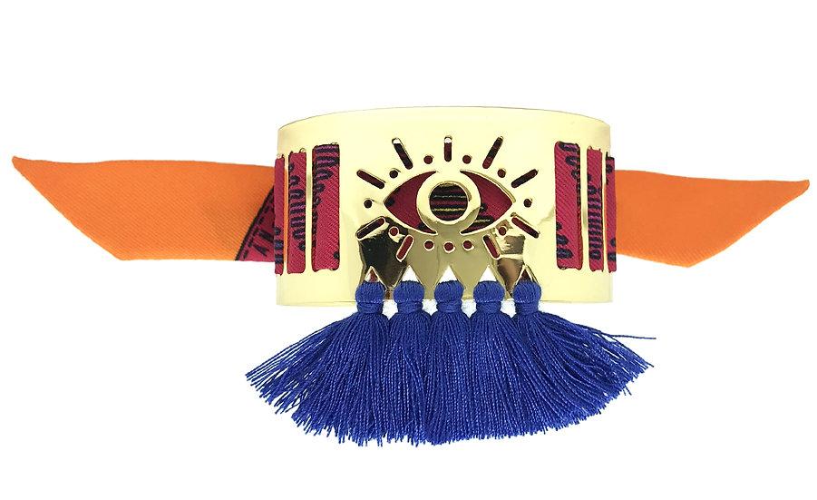Petite manchette Marrakech à pompons bleus et son bracelet Tapis Volant