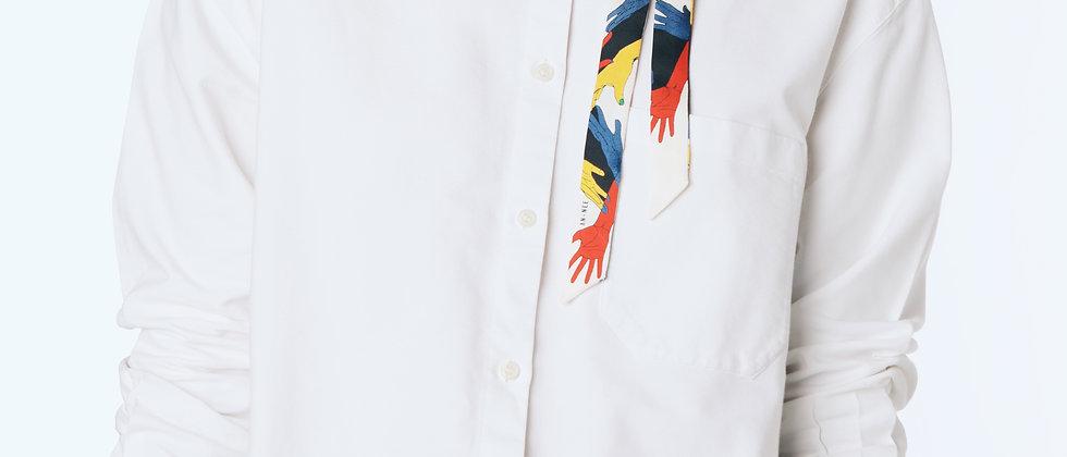 Collier Chaîne et lacet Jeu de Mains, blanc cassé