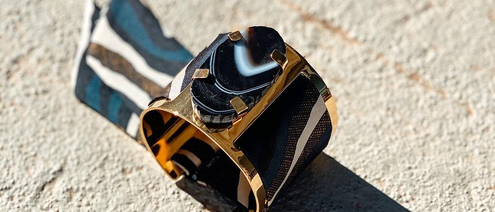 Grande manchette MERCURE, agate noire et bracelet Zèbre,marine
