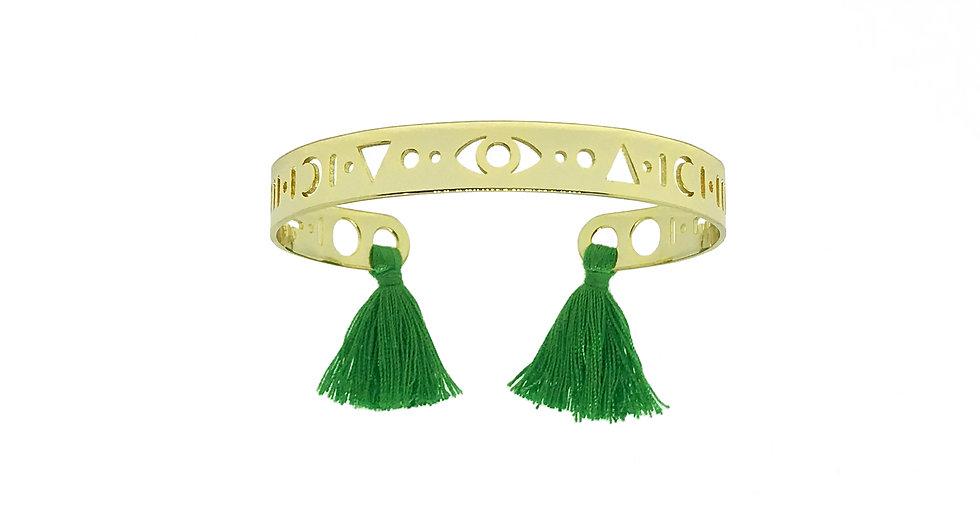 Bracelet MARRAKECH - Pompons vert flash