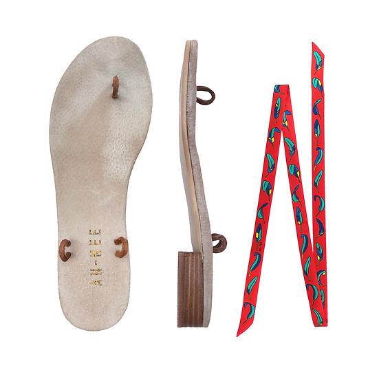 Sandales Horae - Lacets La Bataille / Rouge