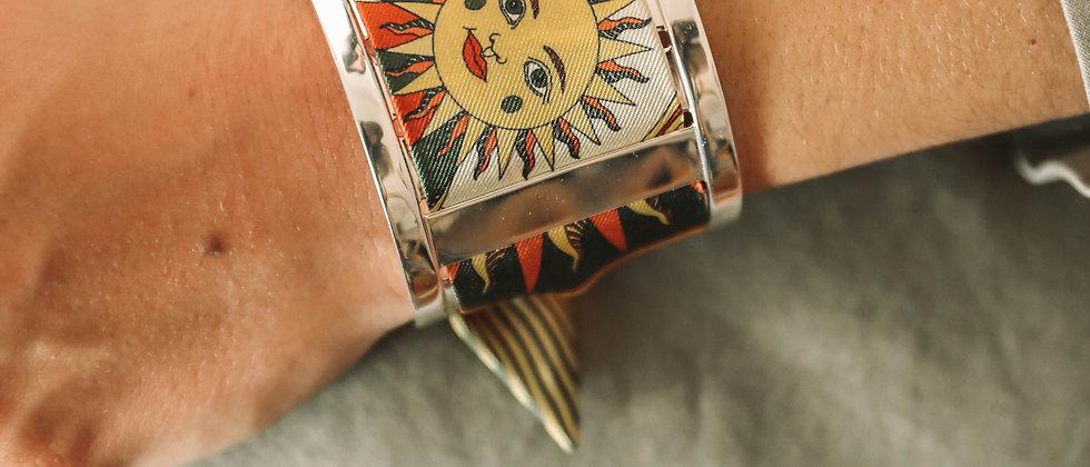Grande Manchette JMA et bracelet Soleil, terracotta