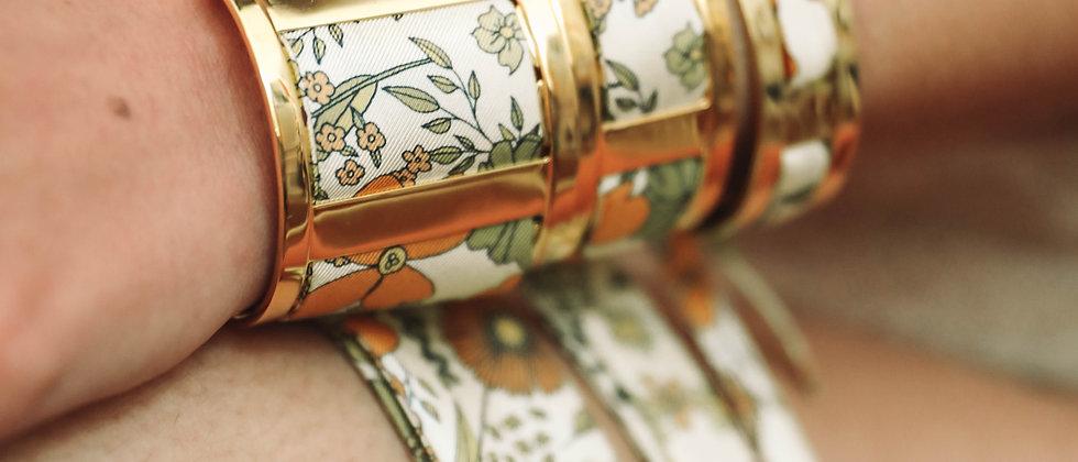 Grande Manchette JMA et bracelet Liberty, blanc cassé