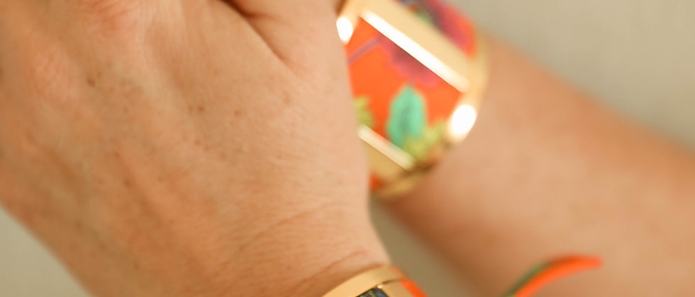 Manchette JMA de 3 cm - Ruban Tournesols orange