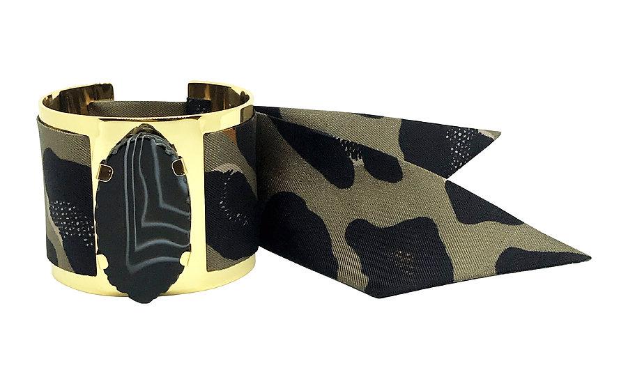 Grande manchette MERCURE, agate Noire - Leopard Khaki/Taupe