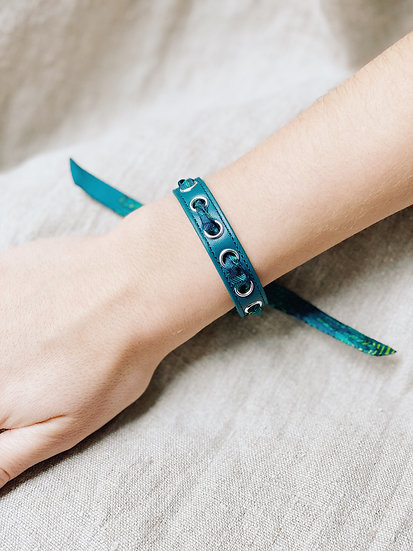 Bracelet octane Cycle & ruban L'Aigle, turquoise