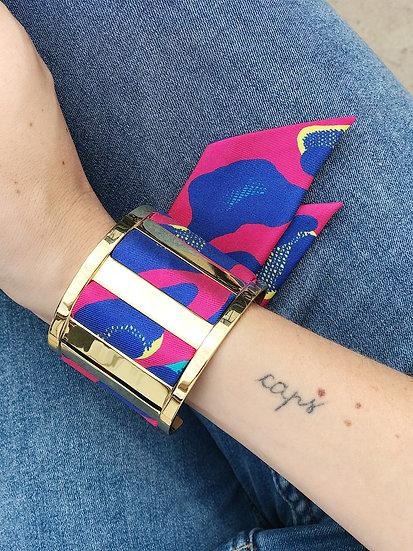 Grande Manchette JMA et bracelet Léopard, Fuschia