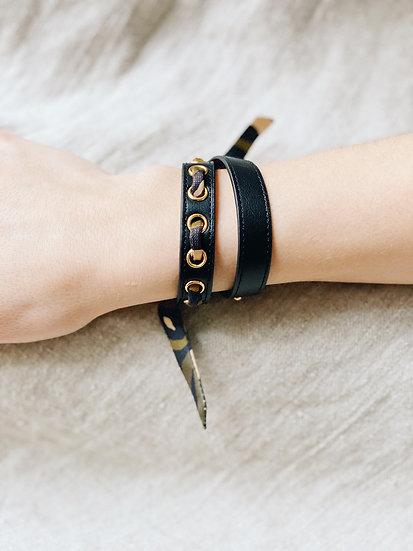 Bracelet double tour noir Cycle, ruban Zèbre, khaki