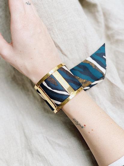 Grande Manchette JMA et bracelet Le Zèbre, marine
