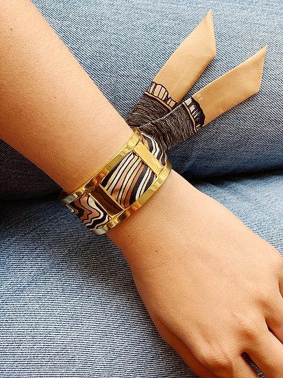 Manchette JMA de 3 cm - Bracelet Souche, colori Beige