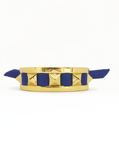 Petite manchette 2cm Clous et ruban Bleu électrique