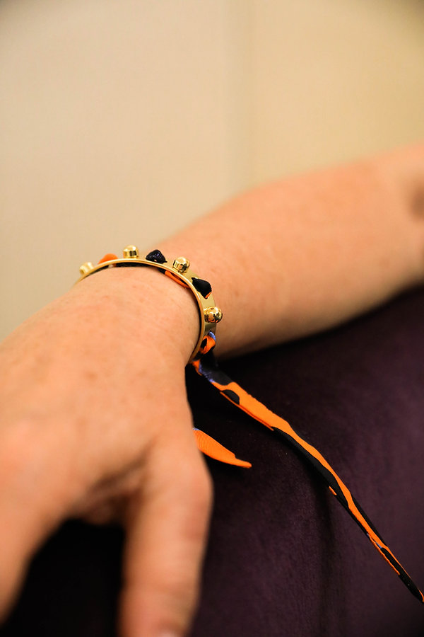 Bracelet Soleil et ruban Léopard orange AN-NEE, par Alexia Nokovitch