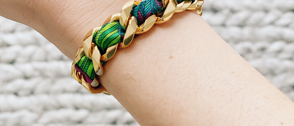 Bracelet Chaîne et son ruban L'Aigle, turquoise