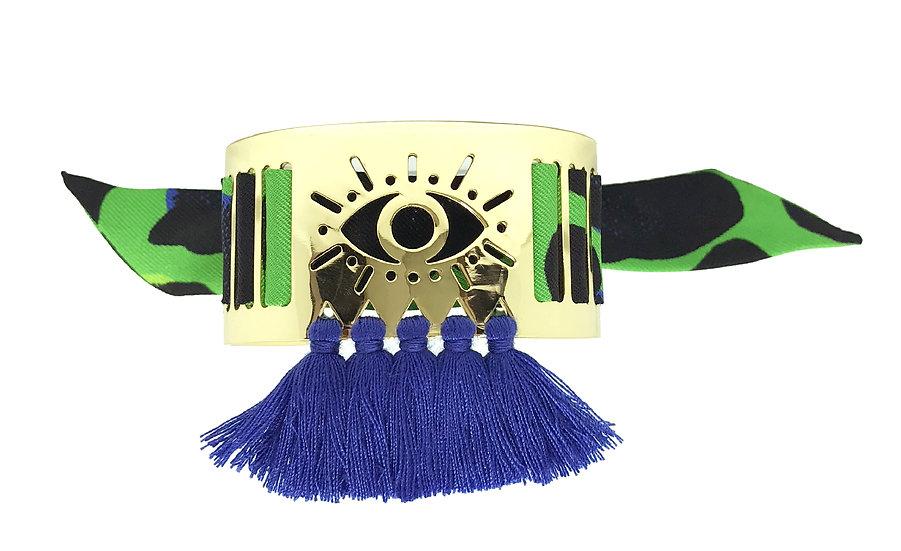 Petite manchette Marrakech à pompons bleus et son bracelet Léopard