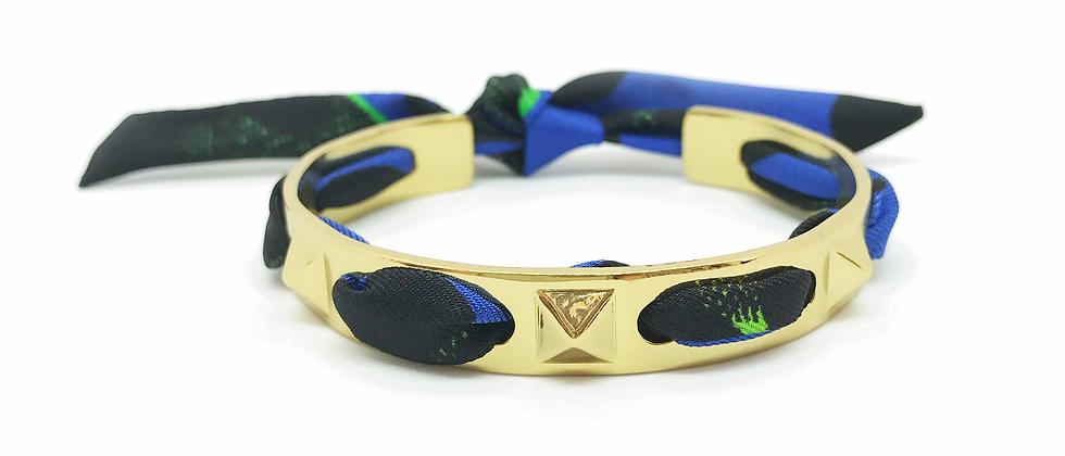 Bracelet Clous et ruban Léopard, Bleu électrique