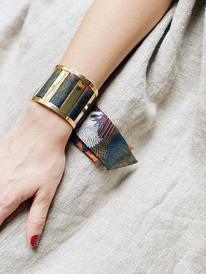 Grande Manchette JMA et bracelet L'Aigle khaki