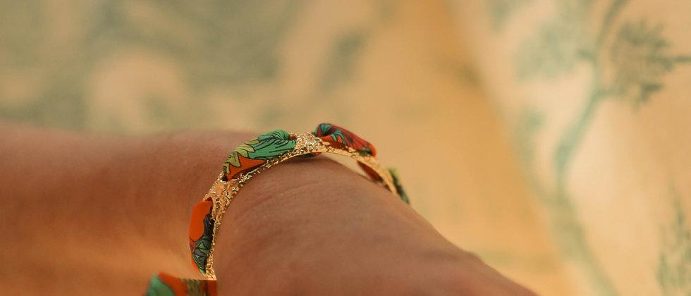 Bracelet Queen et ruban Tournesols, orange