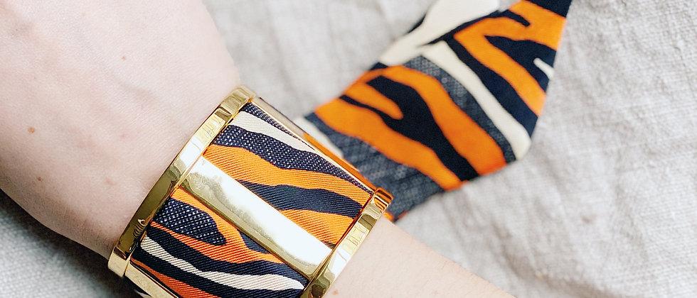 Grande Manchette JMA et bracelet le Zèbre, orange