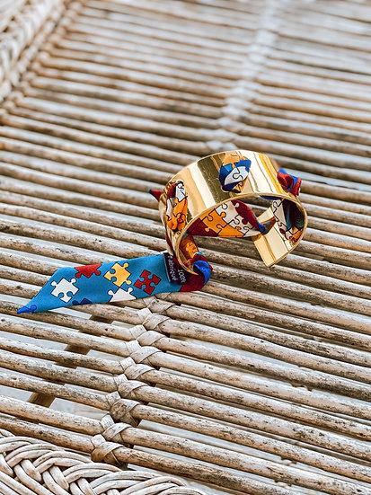 Manchette Proust et ruban Puzzle - Bleu Ardoise