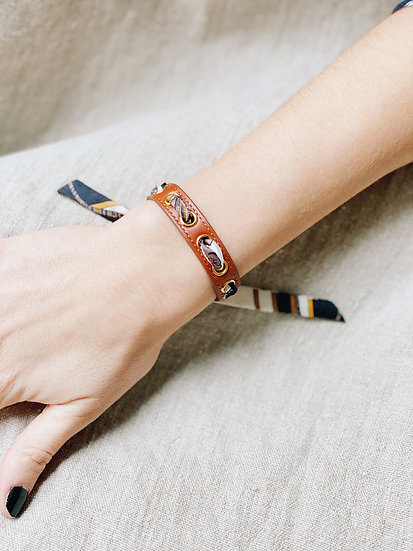Bracelet camel Cycle, ruban Tigre blanc cassé