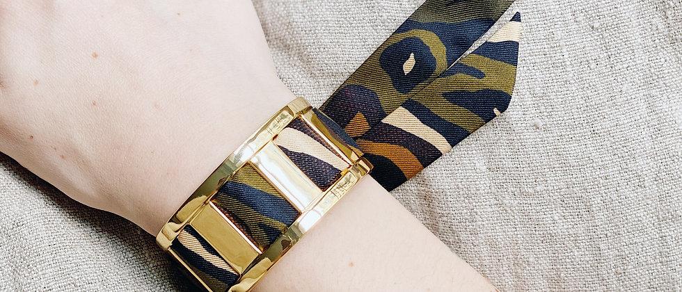 Manchette JMA de 3 cm - Bracelet Le Zèbre khaki
