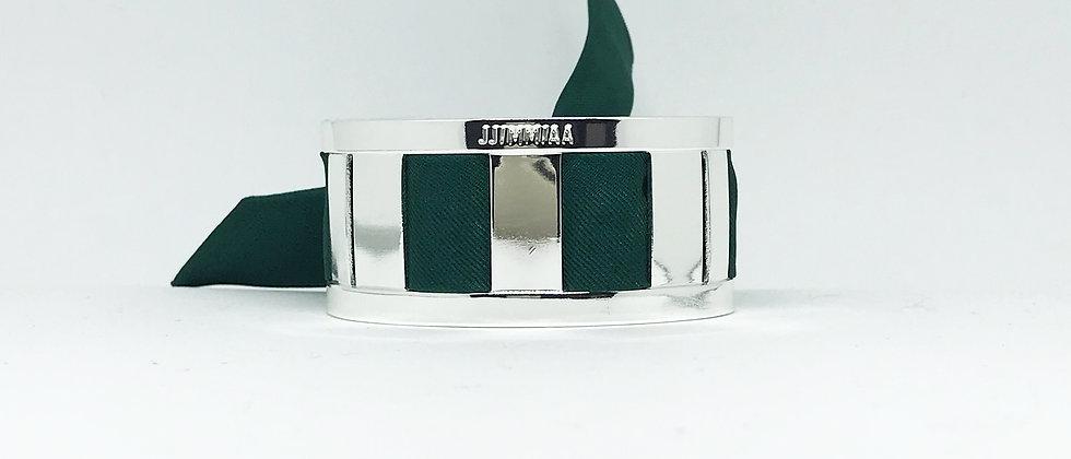 Petite manchette argent & son bracelet uni Vert Sapin