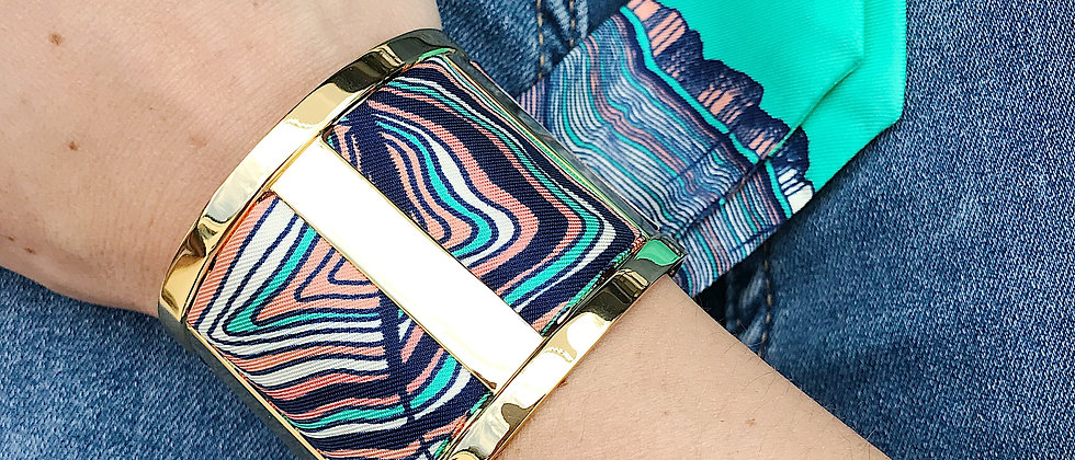 Grande Manchette JMA et bracelet Souche vert d'eau