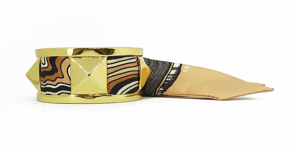 Manchette 3cm CLOU - Bracelet Souche, Beige