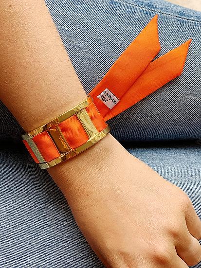 Manchette JMA de 3 cm - Bracelet uni Orange