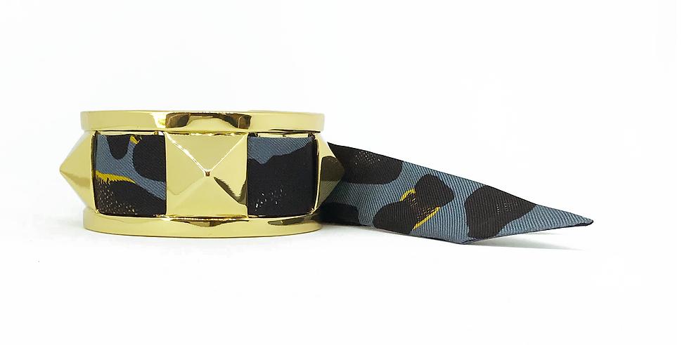 Manchette 3cm CLOU - Bracelet Léopard, Bleu Jean