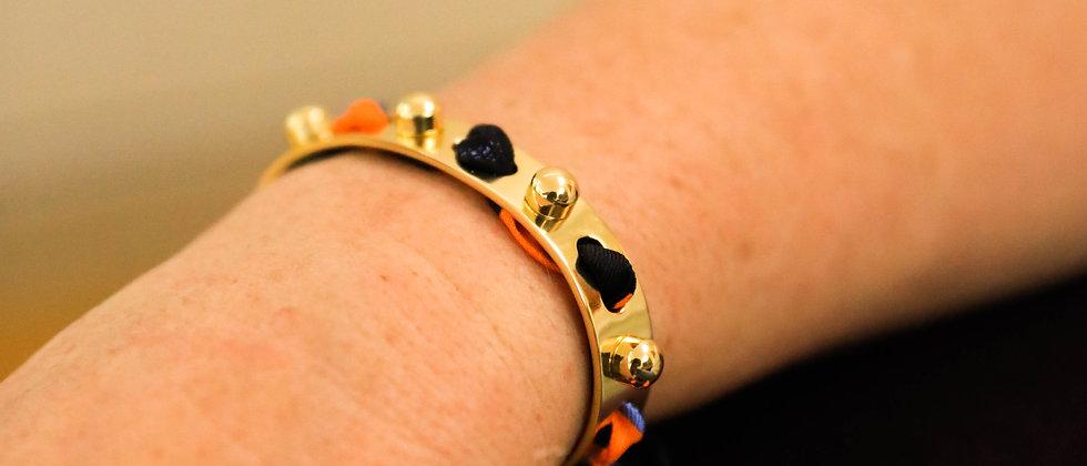Bracelet Soleil et ruban Léopard, orange