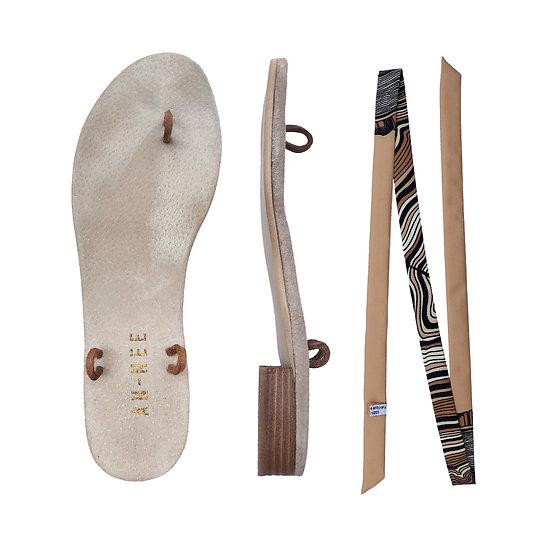 Sandales Horae - Lacets Souche, Beige