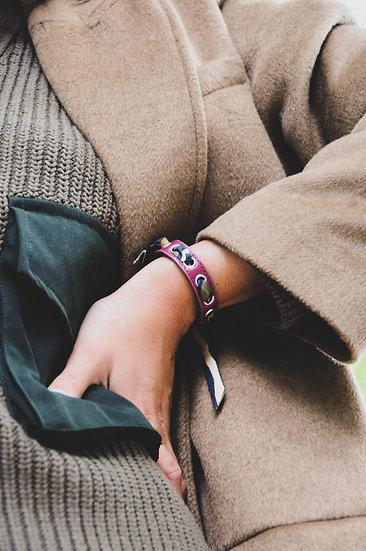 Bracelet cerise Cycle, ruban Zèbre Khaki