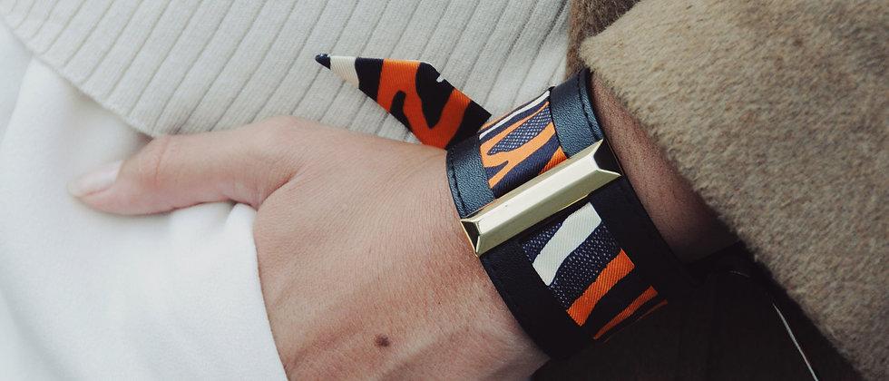 Manchette Lingot noire & ruban Le Zèbre, orange