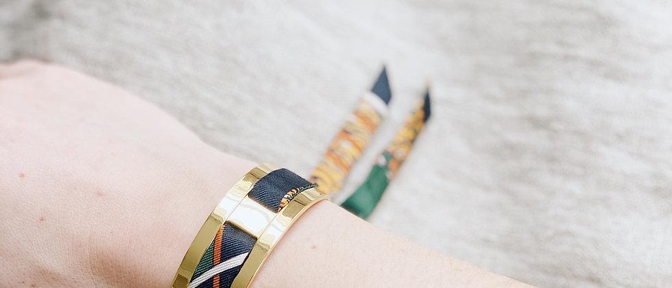 Petite Manchette JMA de 2 cm - Bracelet Le Tigre vert