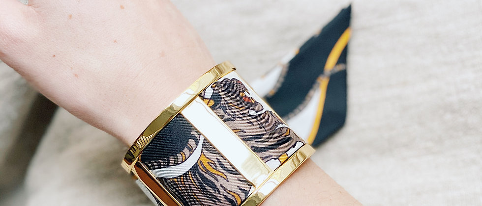 Grande Manchette JMA et bracelet le Tigre, blanc cassé