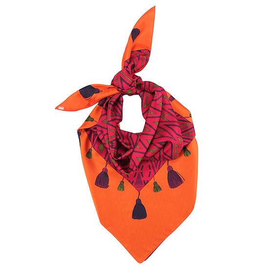 Carré 110 cm - Tapis Volant - Orange & fuchsia