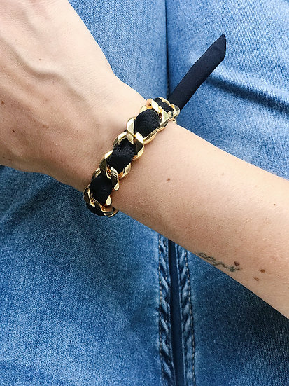 Bracelet Chaîne et son ruban Noir