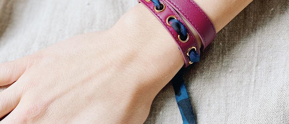 Bracelet double tour cerise Cycle, ruban Léopard marine