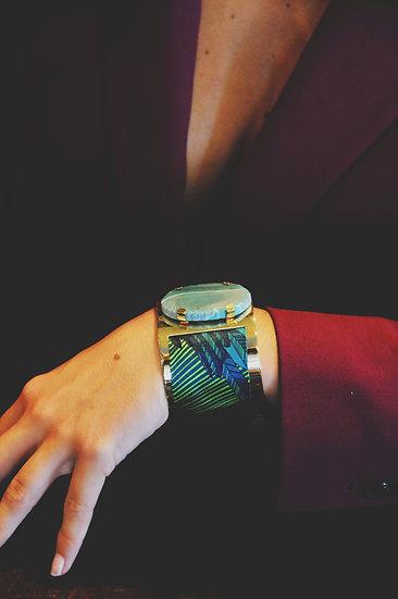 Grande manchette MERCURE, agate vert d'eau et bracelet Aigle, bleu