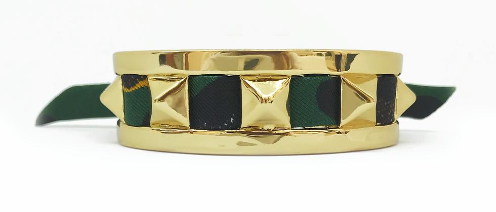 Petite manchette 2cm Clous et ruban Léopard, Vert foncé