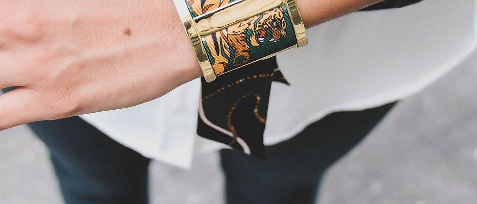 Grande Manchette JMA et bracelet Le Tigre, vert
