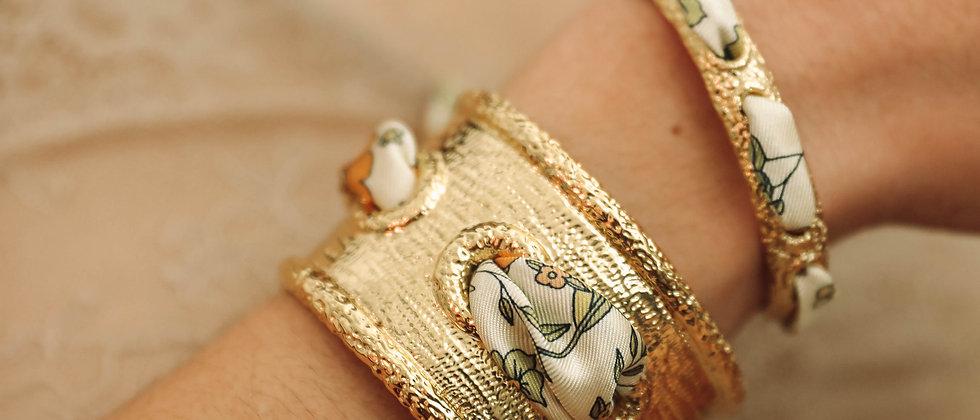 Manchette Queen et bracelet Liberty, blanc cassé