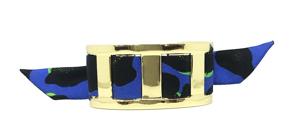Manchette JMA de 3 cm - Bracelet Léopard, Bleu Electrique
