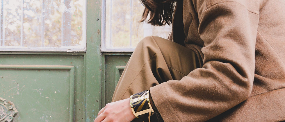 Grande Manchette JMA et bracelet Le Zèbre, khaki